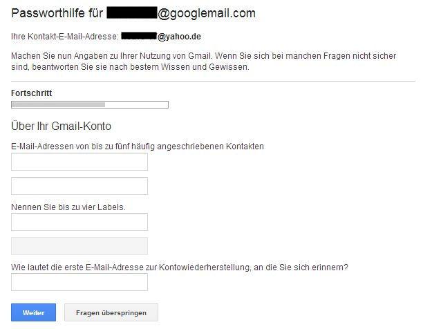 passwort wiederherstellen google