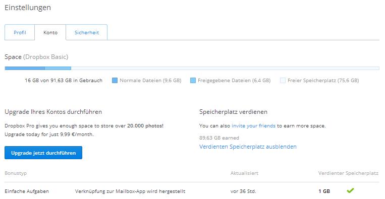 1 GB zusätzlichen DropBOX Speicher durch die Installation ...