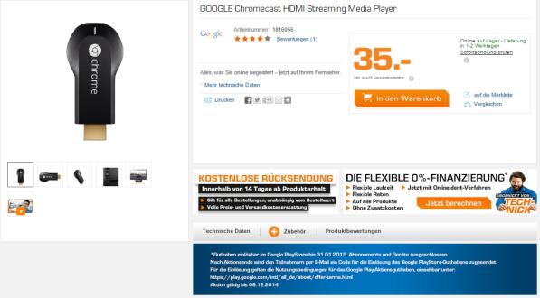 Google_Chromecast_Stick_plus_Guthaben