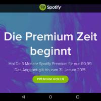 Spotify Premium Feiertage - 3 Monate Premium ABO für insgesamt nur 0,99 Cent abstauben!